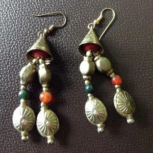 Vintage style boho bead and metal earrings UC.